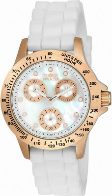 Invicta Speedway 21995 Women's Analog Mother of Pearl Day Date Silicone Watch