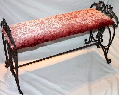 Antique Ornately Scrolled Victorian Wrought Iron Piano Bench W/ Velvet Upholstry