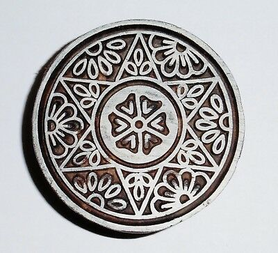 Round Shaped 6cm Indian Hand Carved Wooden Printing Block Stamp (2018-RD-5)
