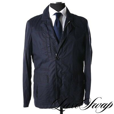 #1 MENSWEAR Allegri Made in Italy Unlined Unstructured Navy Rain Jacket 50 NR