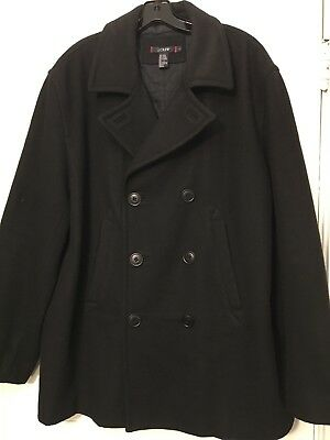 Men's J. CREW Black Wool Blend Double Breasted Pea Coat Jacket  large L defects