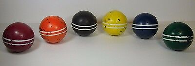 ANTIQUE VINTAGE 1960s OLD SET 6 WOOD 2 TWO STRIPED CROQUET BALLS 6 SIX COLORS