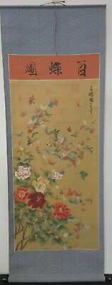 Large Hand Painted Japanese Scroll Of Butterflies