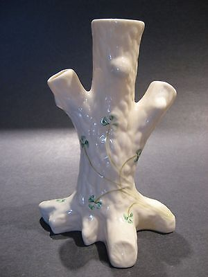 Vintage Belleek Fine Irish Porcelain Shamrock Tree Trunk Vase Green Mark Ireland