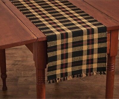 Primitive Country Cambridge Table Runner 13x54 Black Barn Red Tan Ribbed Cotton
