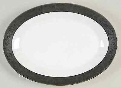 "Noritake SHARON (PLATINUM TRIM) 12"" Oval Serving Platter 465642"
