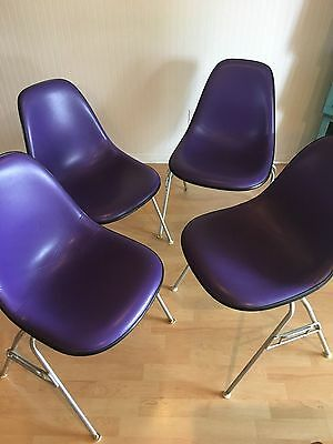 Set of Four Vintage Charles Eames Herman Miller Shell Dining Chairs rare Purple!