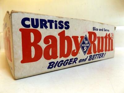 """Vtg Curtiss BABY RUTH 5c Store Display 8x10x3"""" Candy Bar Box Dated 1951"""
