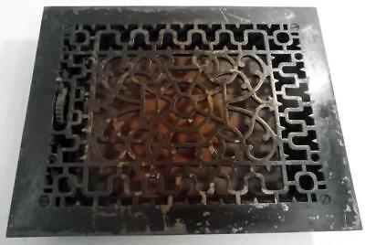 """Antique 11x13"""" Cast Iron Victorian Furnace Grate w Working Louver Back c1910s"""