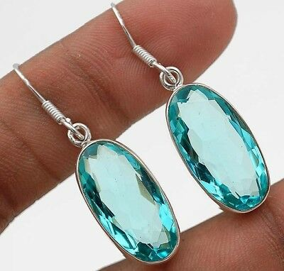 "22CT Aquamarine 925 Solid Sterling Silver Earrings Jewelry 1 1/2"" Long"