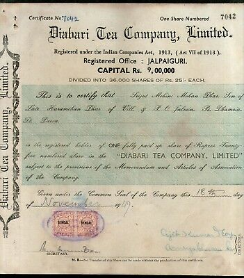 India 1940's Diabari Tea Company Share Certificate with Revenue Stamp # 10385A