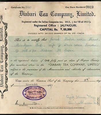India 1940's Diabari Tea Company Share Certificate with Revenue Stamp # 10385E