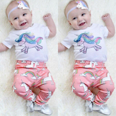 Toddler Infant Baby Girls Casual Unicorn Tops Long Pants Outfits Clothes 0-18M