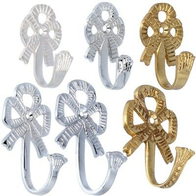 Pairs Of BOW CURTAIN TIE BACK HOOKS Solid Brass/Chrome Tassel Wall Holder Hanger