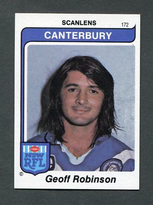 "Scanlens Gum 1980 ""rugby League - #172 Geoff Robinson Canterbury Rare Trade Card"