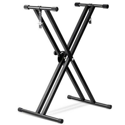 Heavy Duty Folding Adjustable Keyboard Stand Double X Frame Mount with Straps