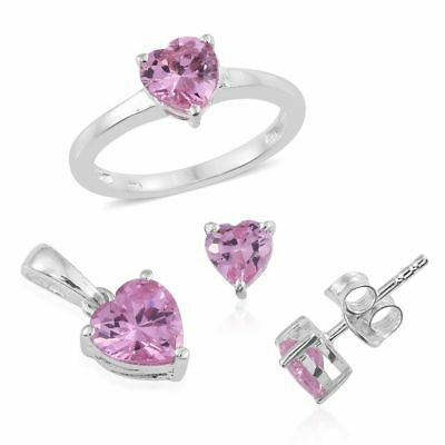 AAA Simulated Pink Sapphire Solitaire Ring, Pendant, Stud Earrings in Silver
