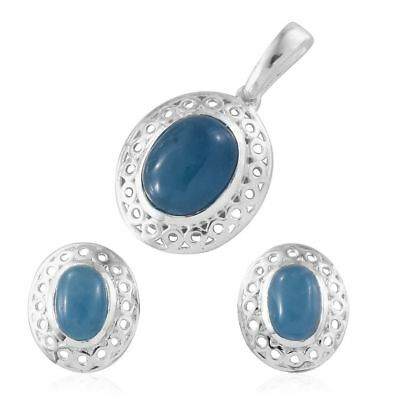 Super Bargain Price-Blue Jade Solitaire Pendant, Stud Earrings in Silver 5.75 Ct