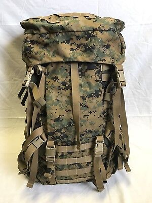 Usmc Woodland Marpat Gen Ii Main Pack Rucksack W/ Lid & Radio Pouch, Used