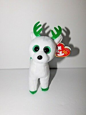 7928a985e47 New w tags Ty Beanie Babies Plush Reindeer Peppermint White   Green