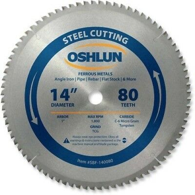 """Oshlun SBF-140080 14-Inch 80 Tooth TCG Saw Blade with 1"""" Arbor for Mild Steel"""