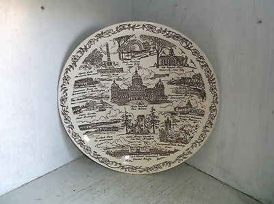 """Vernon Kilns Song of Iowa State Plate Brown 10 1/2"""" U. S. A."""