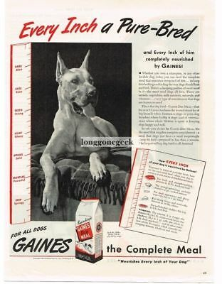 1944 Gaines Dog Meal Food Great Dane Print Ad
