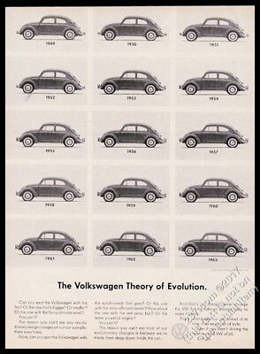 1963 VW Beetle classic 15 cars since 1949 photo Theory Of Evolution vintage ad