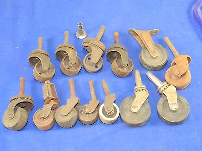13pc. Industrial Swivel Casters,Rollers,Wheels,Furniture Cabinet Vintage Antique