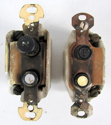 Lot (2) Antique Push Button Wall Light Switch, Mother Of Pearl Button, Ceramic