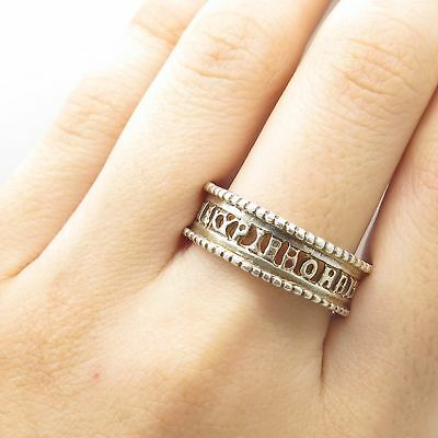 Vtg MMA 925 Sterling Silver Open Band Symbolic Ring Size 11