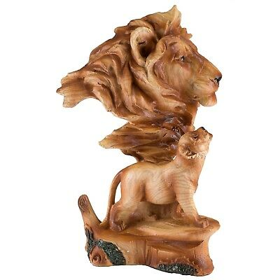 "Lion Head Bust With Cub Carved Wood Look Figurine Resin 7"" High New In Box!"