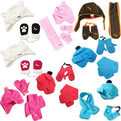 Puma Minicats Tyke Fleece Scarf Scarves Gloves Hats Kids Children Sets Toddler