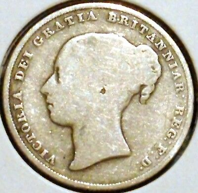 British Silver Shilling - 1853 - Queen Victoria - $1 Unlimited Shipping