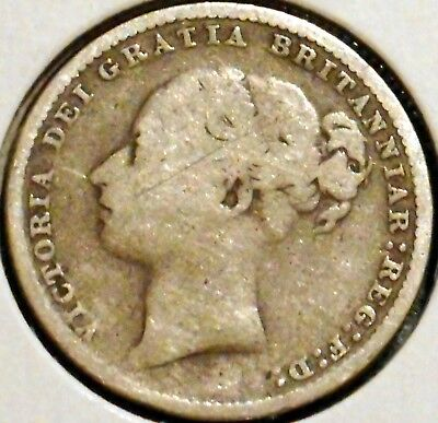 British Silver Shilling - 1881 - Queen Victoria - $1 Unlimited Shipping
