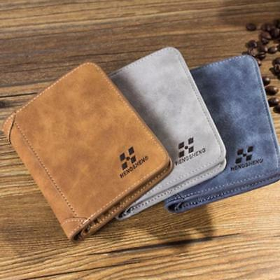 Men's Bifold Wallet Purse PU Leather ID Credit Card Holder Coin Pocket Gifts Z