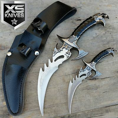 2pc DRACO TWIN FANTASY DAGGER STAINLESS STEEL FIXED BLADE KNIVES SET w/ SHEATH