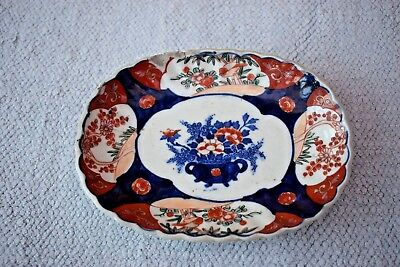Small Antique Oval Japanese IMARI  Floral Dish or Plate
