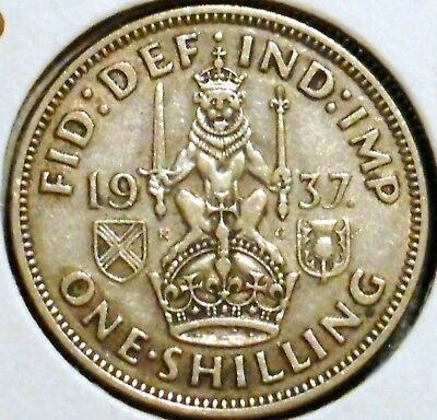 British Silver Shilling - 1937-S - King George VI - $1 Unlimited Shipping