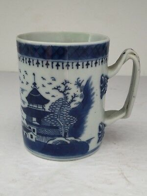Antique Chinese Export Porcelain Blue Canton Branch Handle MUG Tankard 19thC