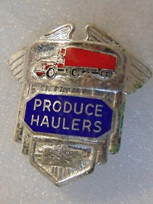 rare ORIGINAL vintage PRODUCE HAULERS metal badge uniform hat TRUCK DRIVER $9.95