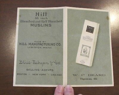 Vintage Advertising Hill Manufctring Lewiston Muslin Sample WP Beard Hagerstown