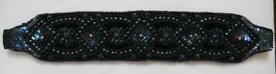 """Vintage 1980's Deco Style Black Bead & Sequin Embroidered Belt Size to 38"""" Waist"""