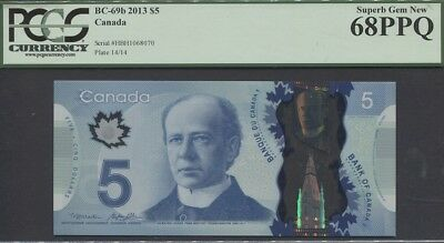"TT PK BC-69b 2013 CANADA $5 ""WILFRID LAURIER"" PCGS 68 PPQ SUPERB POP ONE FINEST!"