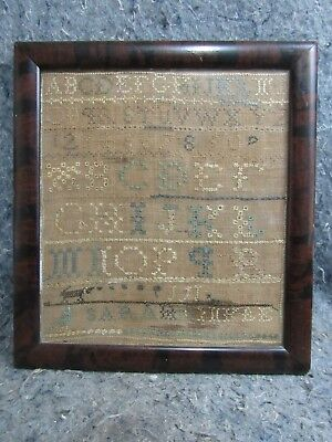 Antique American SAMPLER Clarke County Virginia SARA HINKLE Folk Art w Deer Bird