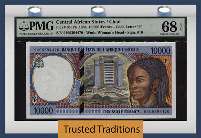 TT PK 605Pa 1994 CENTRAL AFRICAN STATES 10000 FRANCS PMG 68 EPQ SUPERB TOP POP!