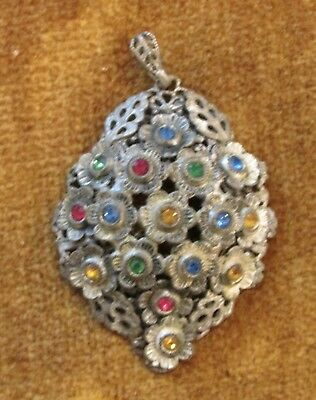 Vintage Silver color Metal Filigree Pendant REd Green Blue Yellow Rhinestone