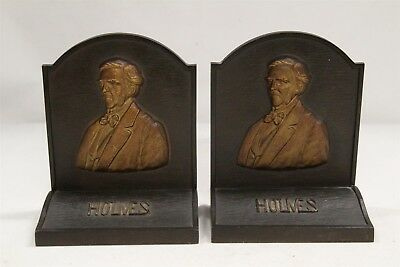 Arts Crafts Bradley Hubbard Cast Iron Holmes the Poet Face Bookends