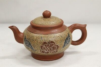 Chinese Yixing Cabbage Rose Leaves Marbelized Pottery Teapot Signed