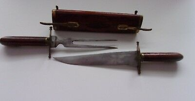 Antique-Carving Knife & Fork Set With Wooden & Brass Case Handle - Made In India
